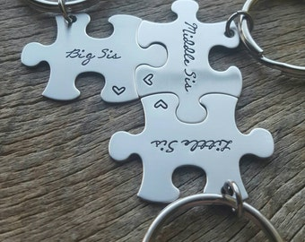 Customizable Big Sis Little Sis Middle Sis Hand Stamped Puzzle Piece key Chain Set  of 3 sisters sorority sisters