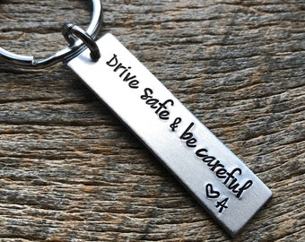 Drive Safe and Be Careful With Initials Customizable Hand Stamped Light Weight  Aluminum Rectangle  key chain Boyfriend /Girlfriend