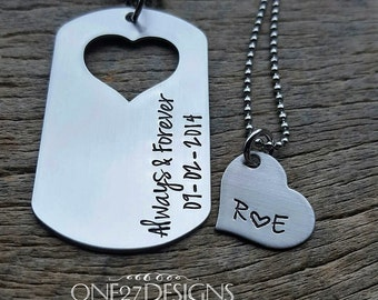 Couples Necklace Set Dog Tag with Heart Cutout Always & Forever Hand Stamped with custom date His and Her Necklace set