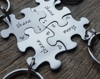 Customized Ohana Family Puzzle Piece Key Chain Personalized with Initials  best friends sorority sisters key chain Christmas Gift