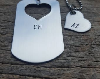 Dog Tag with Heart Cut Out Hers and Initials  Hand Stamped Necklace Set for Him and Her Couples Set