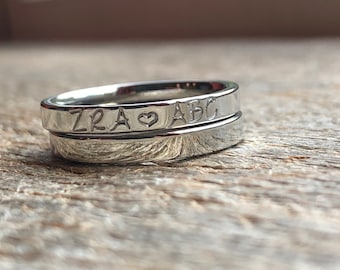 Couples Initials Hand Stamped Ring Stacking Ring Mothers Ring Personalized  3mm Shiny  Stainless Steel comfort fit flat faced Mother's