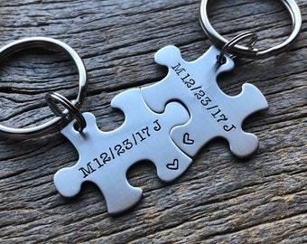 Customized Puzzle Piece Key Chain Personalized with Date with initials best friends / College Moving/Family/ Anniversary key chain