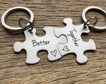 Ships Next Day Laser Engraved Better Together stainless steel puzzle key chain set Gift for Him /Her /Anniversary/ Husband /Wife