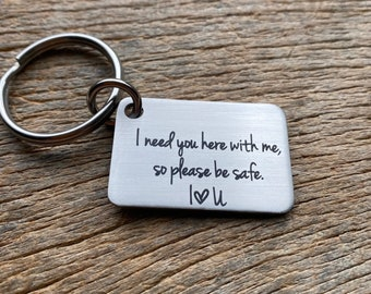 Ships next Day I Need You Here With Me Stainless Steel Laser Engraved Key chain Boyfriend Husband Girlfriend Wife Anniversary Gift