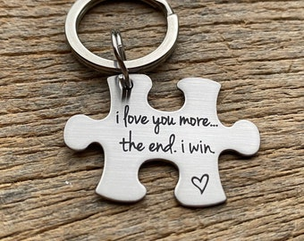 Ships Next Day Laser Engraved I love you more The end I win Stainless steel puzzle piece Anniversary Gift Husband Wife Boyfriend Girlfriend