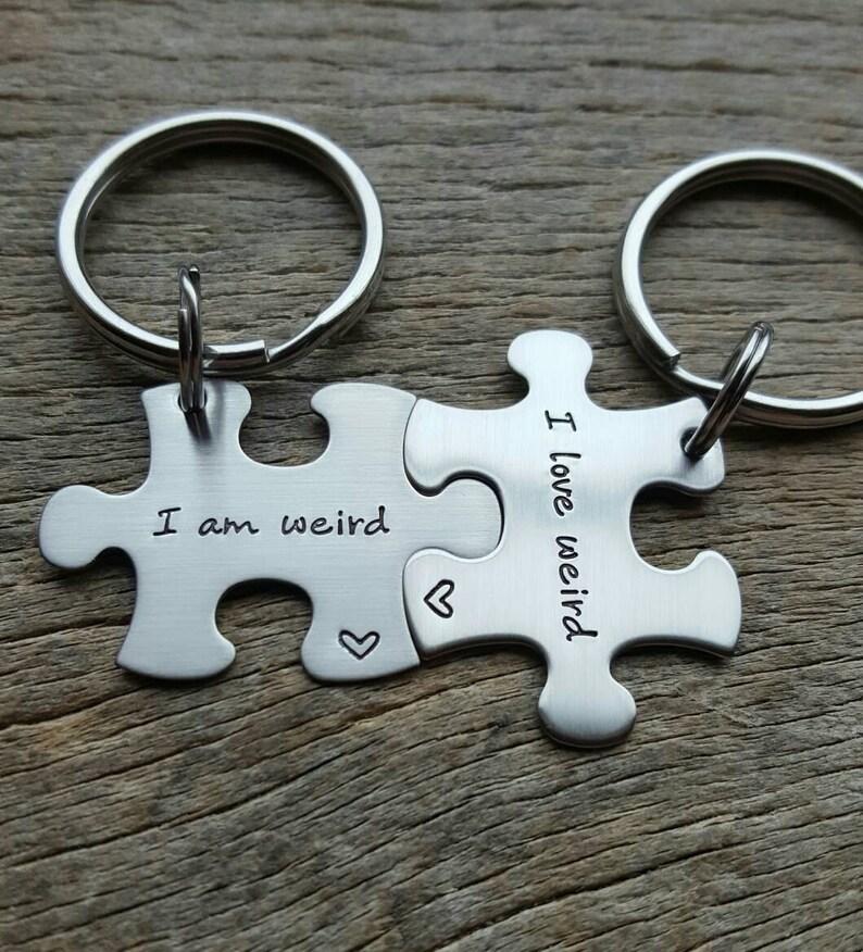eb7d46a593 Customizable I Am Weird I Love Weird Puzzle Piece Key chain | Etsy