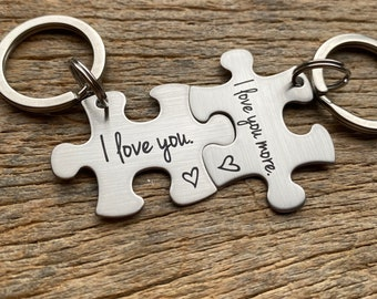 DISCOUNTED Ships Next Day Laser Engraved I Love You More stainless steel puzzle key chain  Gift for Him /Her /Anniversary/ Husband /Wife