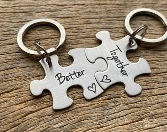 Discounted Ships Next Day Laser Engraved Better Together stainless steel puzzle key chain set Gift for Him /Her /Anniversary/ Husband /Wife