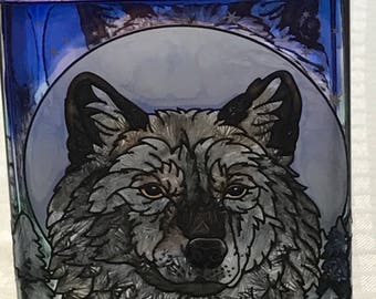 Wolf Moon Hand Painted Glass Vase