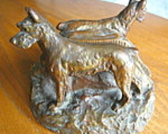 Antique Bronze Clad Dog Bookends