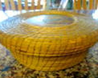 Vintage Hand Painted Sweet Grass Basket