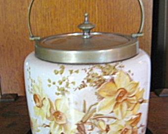 Antique English Transferware Daffodil Biscuit Jar