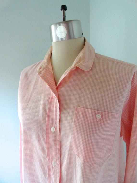 50s Shirt QUEEN L XL Pink Cream Gingham Shirt Fren