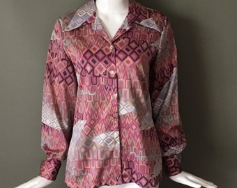 3104410a768c3 Super Cute Vtg 60s Lady Devon for Lane Bryant Button Up Top Blouse Long  Cuff Sleeves L Collegian of California Label