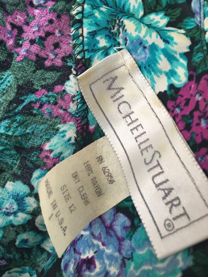 Gorg Vtg 80s Floral Teal /& Turquoise Print Dress Peter Pan Collar Matching Wide Belt Pockets 12 L Mint