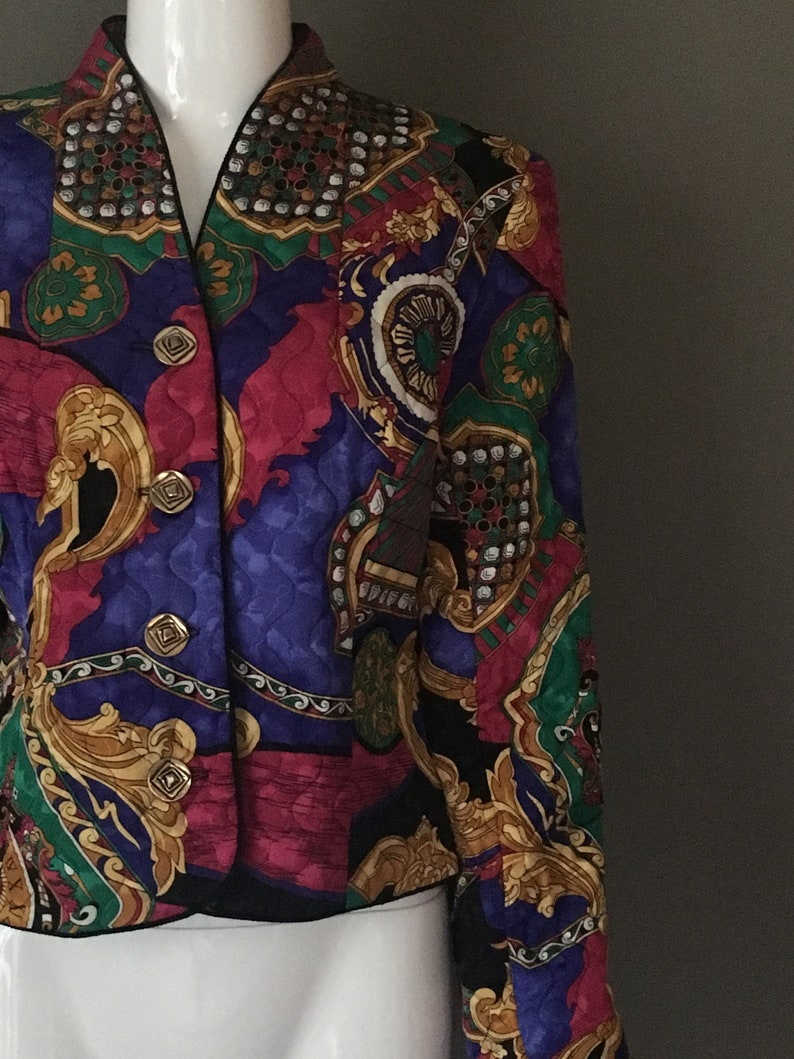 Vtg 80s Bold Bright Print Quilted Jacket Print Top Blouse Vintage Buttons Up Front 10 M Gay Bower Label Excellent Condition Baroque