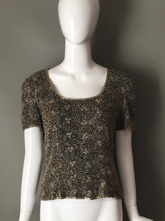 Gorg Vtg 80s St Enay Sequin Encrusted Cocktail Party Top Blouse Short Sleeves Silk 8 M Mint