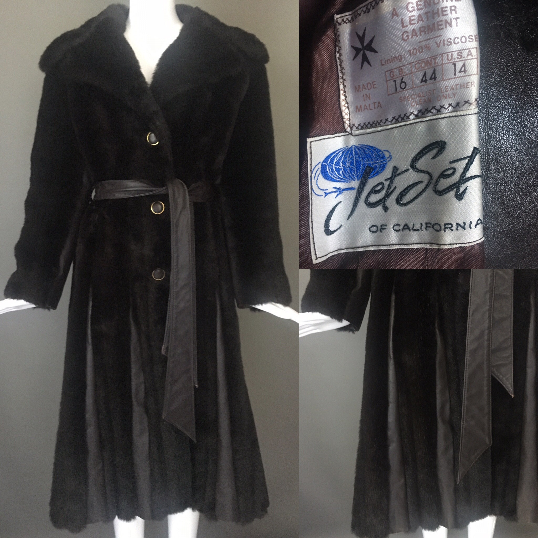 Vtg 60s Mahogany Princess Flare Spy Coat Faux Mink 70 inch Sweep Genuine Leather Stripes Matching Leather Belt S M Jet Set Mint