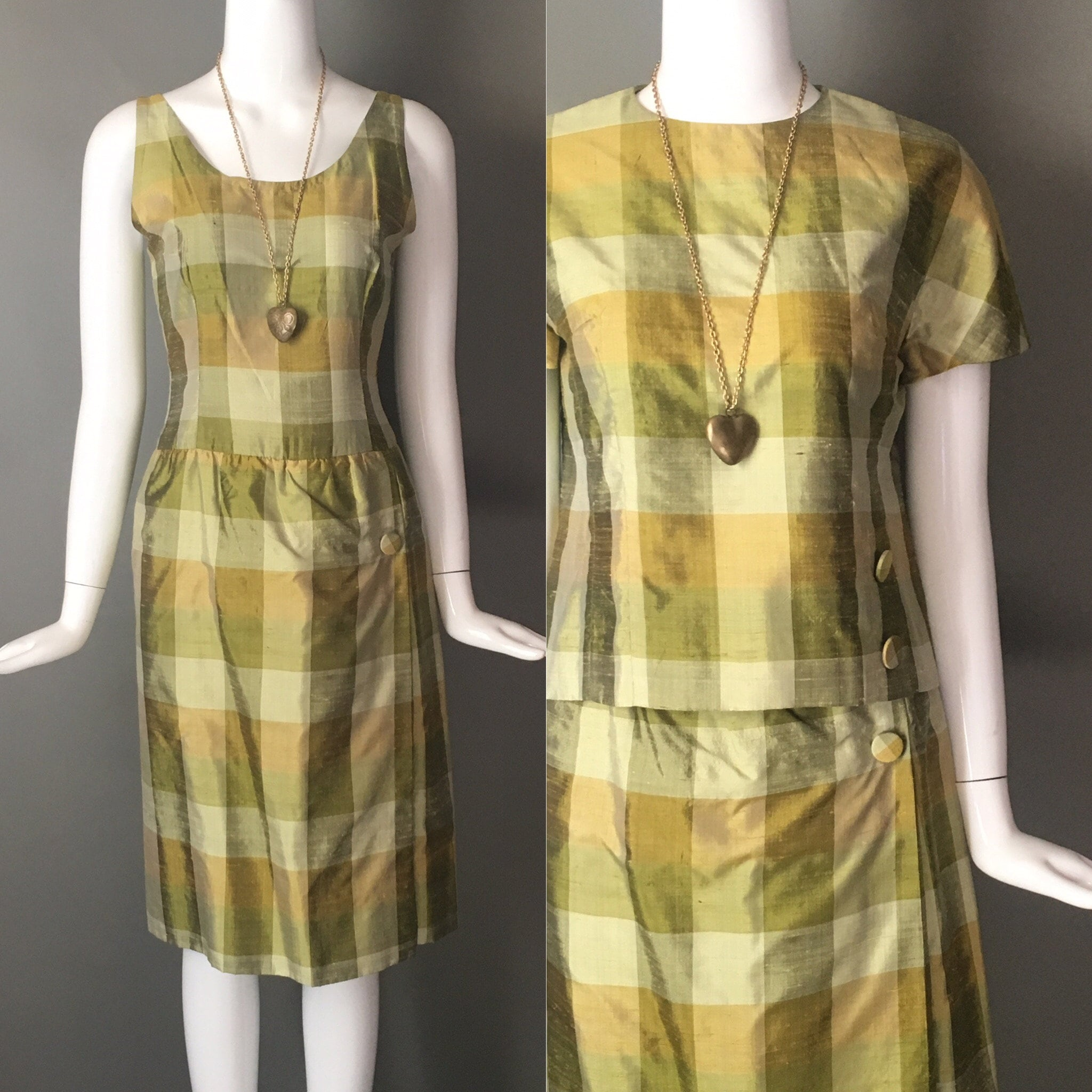 1950s Handbags, Purses, and Evening Bag Styles Vtg 50S Silk Chartreuse Acid Green Plaid Print 2 Piece Outfit Sleeveless Dress Matching Top Metal Zips S Mint Condition $23.95 AT vintagedancer.com