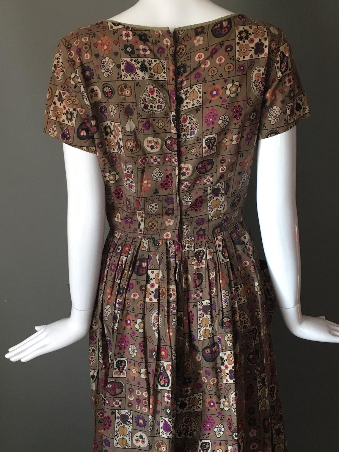 Lovely Vtg 40s Novelty Print Full Pleated Skirt Deep Wide
