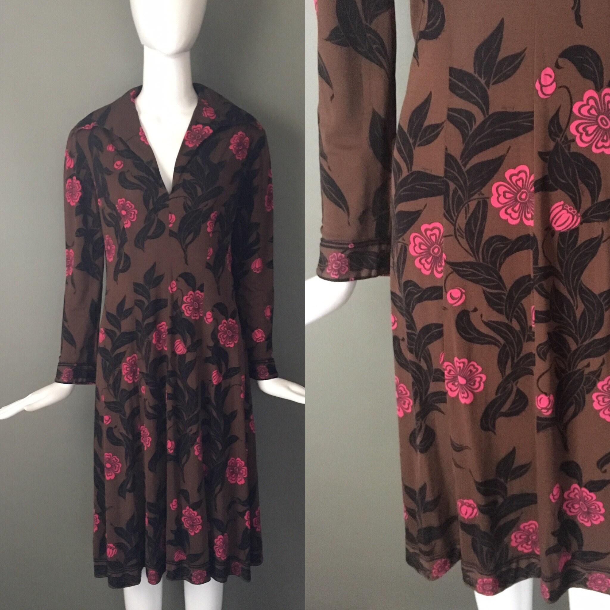 c3ba81e7ffdd Vtg 60s Emilio Pucci Mod Hot Pink Print Silk Jersey Dress Metal Side ...