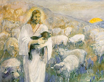Rescue Of The Lost Lamb by Minerva Teichert - Artist of LDS Art and Mormon Historic Works of LDS Temple Art