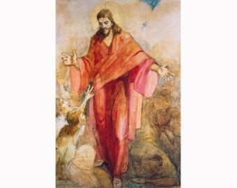 Minerva Teichert Art - Christ In His Red Robe - Giclee Canvas Unframed Print - Latter-day Saint Art Collection 30% off SALE LDS Art