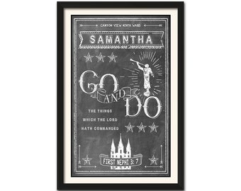 FREE SHIP over 35- PERSONALIZED art - 2020 Go and Do - Youth Theme - Latter-day Saint lds young women men nauvoo mercantile