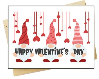 Valentines Day Gnomes - Note Card Set - Free Shipping on orders over 35
