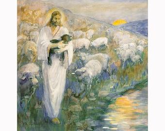 Minerva Teichert Art - Rescue of the Lost Lamb - Giclee Canvas Unframed Print - LDS Art Collection 30% off SALE LDS Art
