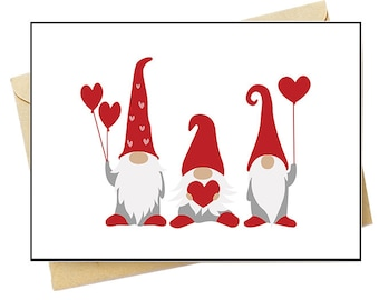 Valentine Gnomes - Note Card Set - Free Shipping on orders over 35