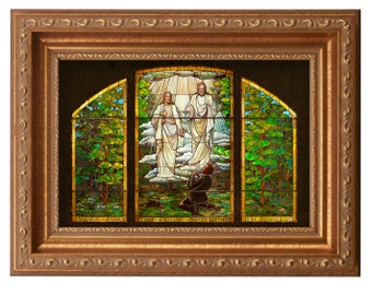 FRAMED - Joseph Smith's First Vision Stained Glass - Giclee Canvas Art LDS Art - Sacred Grove