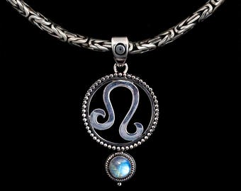 Sterling Silver Leo Necklace, Silver Leo Zodiac Necklace, Sterling Silver Leo Zodiac Pendant, Sterling Silver Leo Zodiac Jewelry: LEO