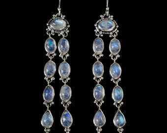 Long Dangling Moonstone Earrings, Rainbow Moonstone Chandelier Earrings, Sterling Silver Rainbow Moonstone Earrings: SCARLET
