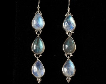 Moonstone Labradorite Dangle Earrings, Sterling Silver Rainbow Moonstone Earrings, Sterling Silver Labradorite Earrings: RAIN
