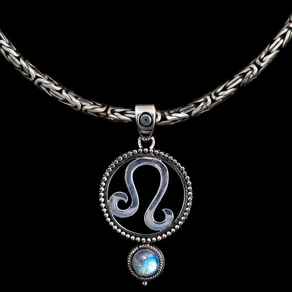 Sterling Silver Leo Zodiac Necklace Rainbow Moonstone Leo Etsy