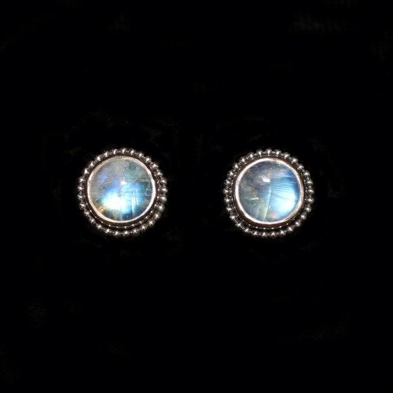 Stud Earrings Silver Rainbow Moonstone Gemstone