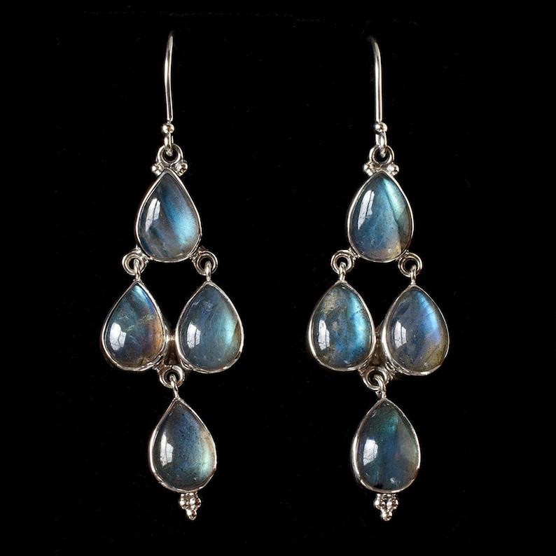 79666a3eb Silver Labradorite Chandelier Earrings Sterling Silver | Etsy