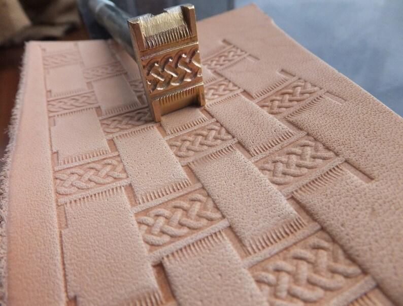 013-28 MEGA basket leather stamp Saddlery homemade Tool Punch 3D Brass