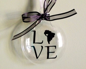 South America LOVE Christmas Ornament, Custom, Adoption, Travel