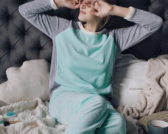 Mint soft velour pyjama set pants and shirt