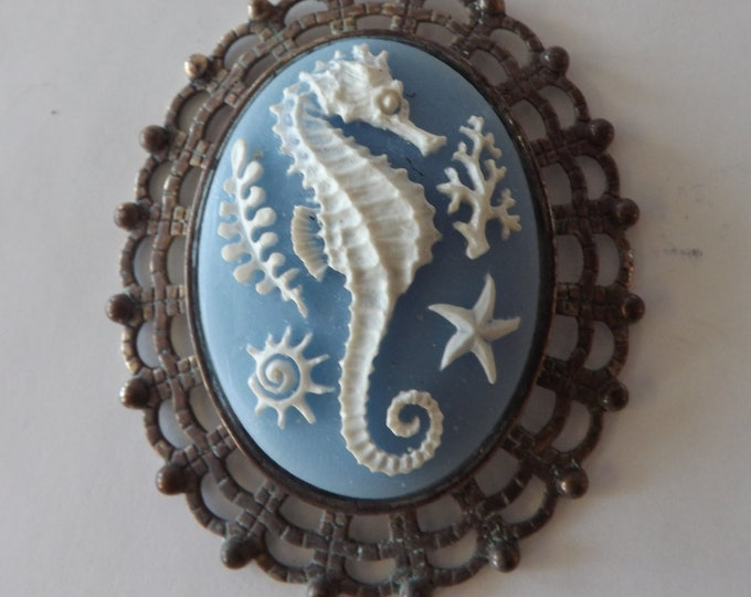 Cameo necklace sea life, rusted frame