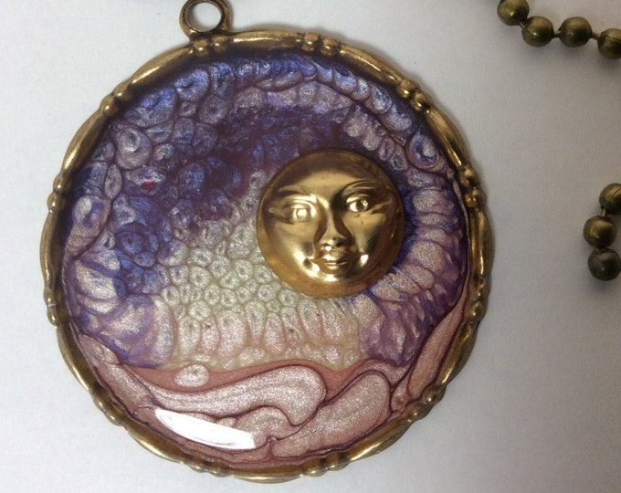 Necklace, Celestial Smiling Moon in Swirling Sky