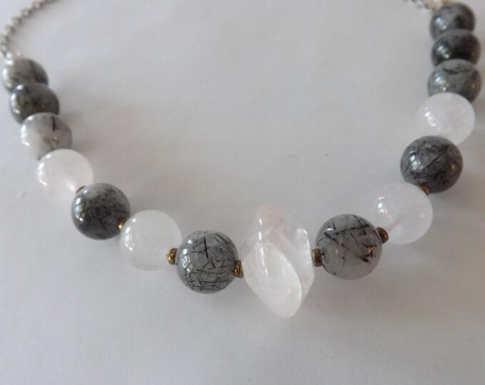 Rose Quartz and Tourmilated quartz necklace