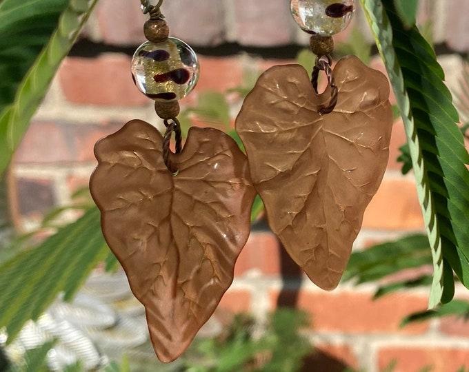 Leaf Earrings, Brown, Cream, Gold