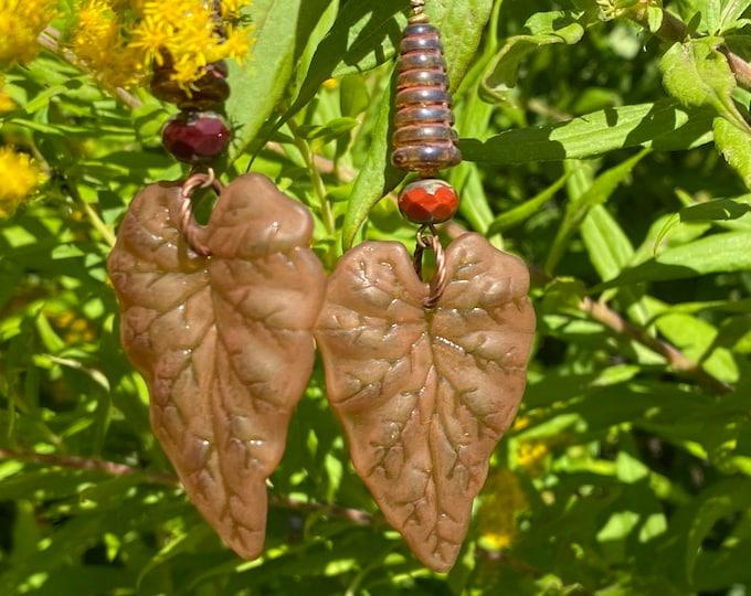 Leaf Earrings, Brown, Czech cone bead, Faceted Czech bead