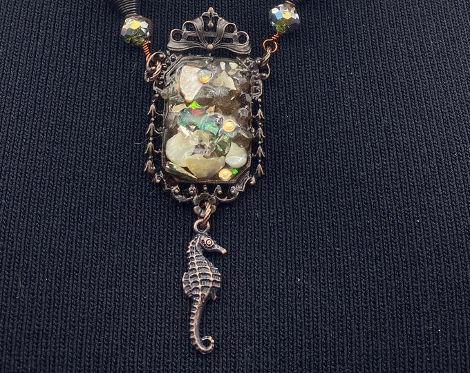 Seahorse Pendant. Picture Frame, rusted iron.