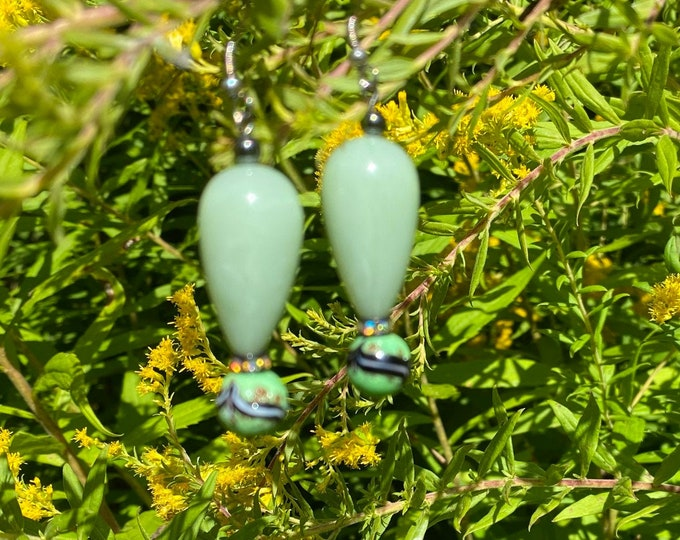 Green Drop Earrings with Crystal Accent