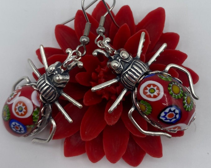 Earrings Millefiore Insect